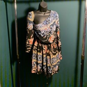 NWT Free People blue/pink tribal floral dress
